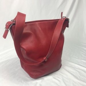Coach   XL Red Leather Bucket Duffle Bag 9151 Rare